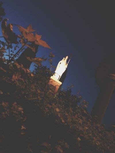 Statue Evening Dark Sky Shining Light