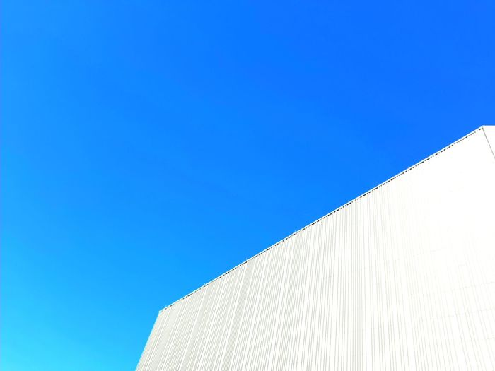 New museum in regensburg under the blue clear sky. new architecture