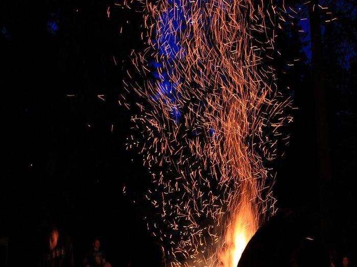 Firepit Flames And Sparks Sparks Fly Sparks Burning Wood