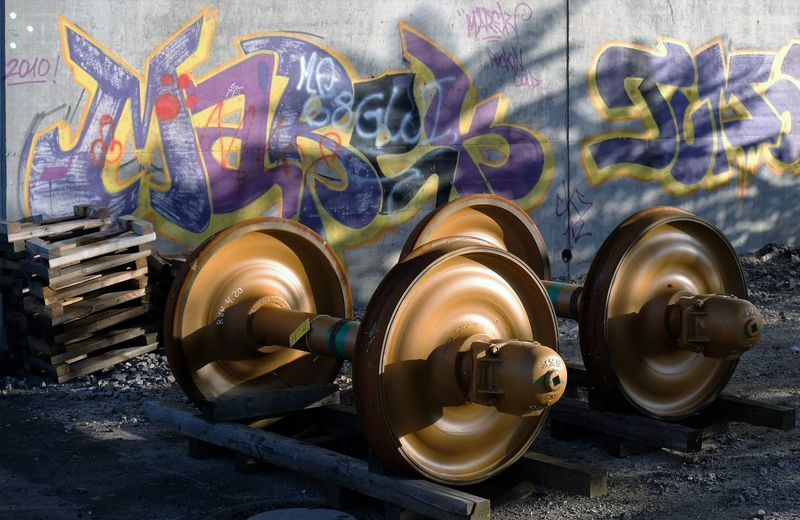 Transportation Graffiti Man Made Object Multi Colored No People Creativity Heavy Duty Industrial Landscapes Industrialbeauty Outdoors Mannheimgram Mannheim Wheels Orange Color Railroad