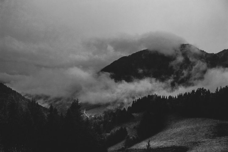 Beauty In Nature Bw Cloud - Sky Cold Temperature Day Landscape Mountain Mountain Range Nature No People Non-urban Scene Outdoors Scenics Sky Snow Tranquil Scene Tranquility Tree Weather Winter