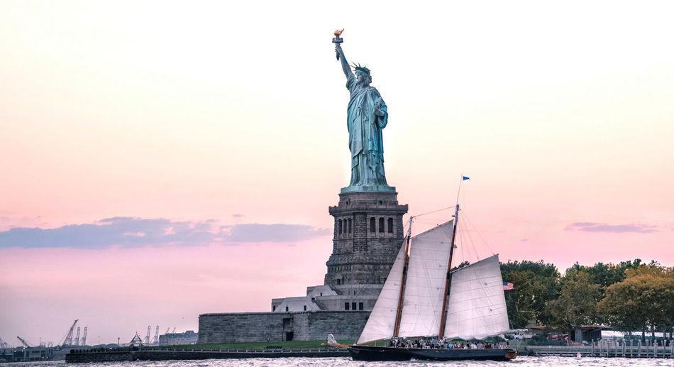 Freedom. Elis Island Freedom Statue Of Liberty New York City Sailing Boat