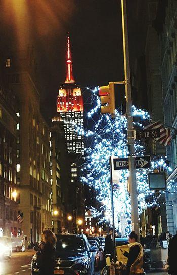 Illuminated City Night Winter New York City Empire Of Lights Empire State Building Quinta Avenida 5 Th Avenue City Life