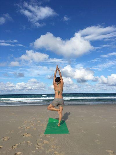 Beach, Australia, yoga, sky, Australia Yoga EyeEm Selects Sea Beach Land Water Sky Cloud - Sky One Person Holiday Nature Trip Vacations First Eyeem Photo My Best Photo
