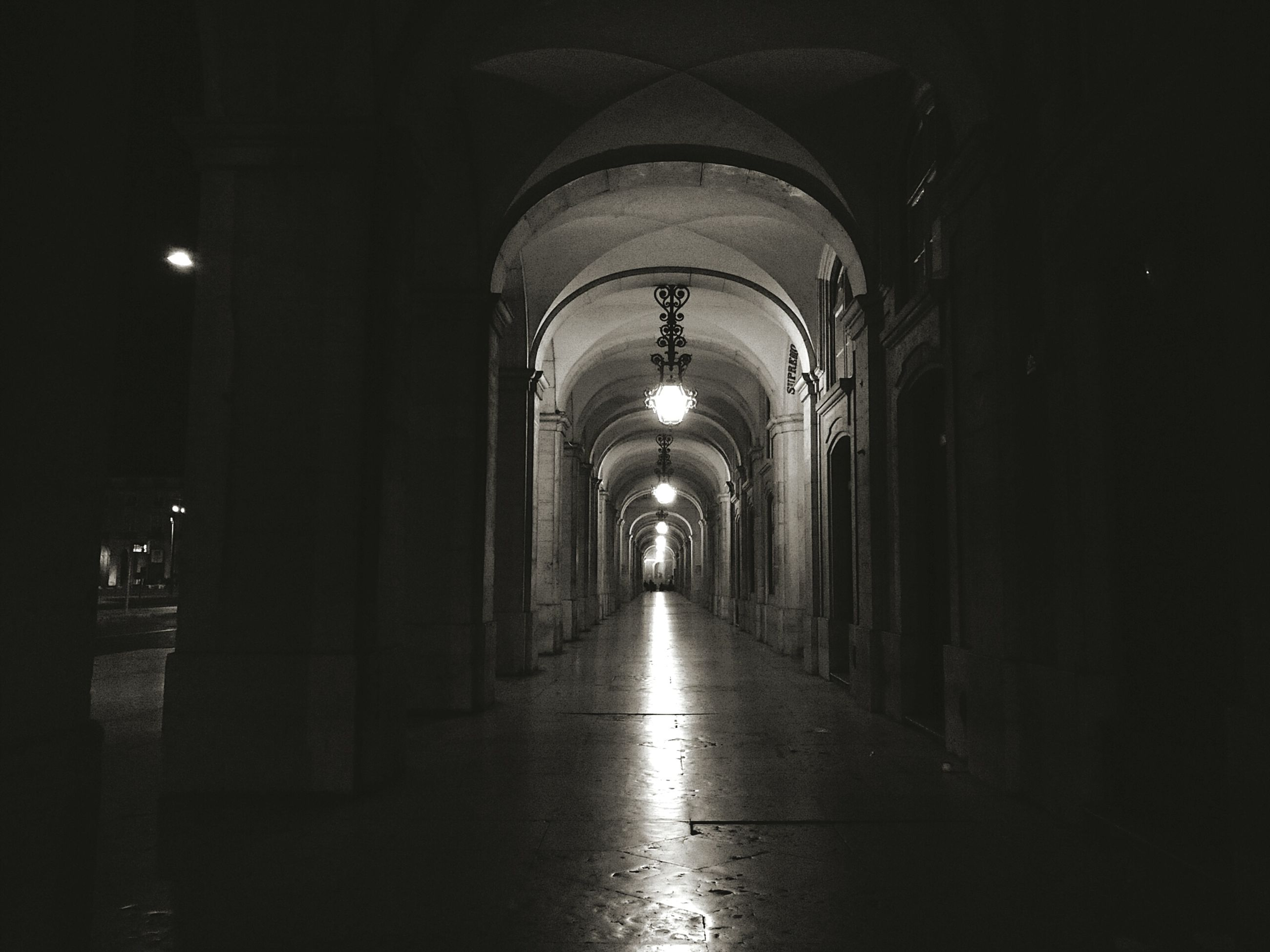 the way forward, diminishing perspective, indoors, illuminated, arch, architecture, built structure, corridor, vanishing point, tunnel, lighting equipment, night, empty, in a row, dark, long, narrow, ceiling, archway, walkway