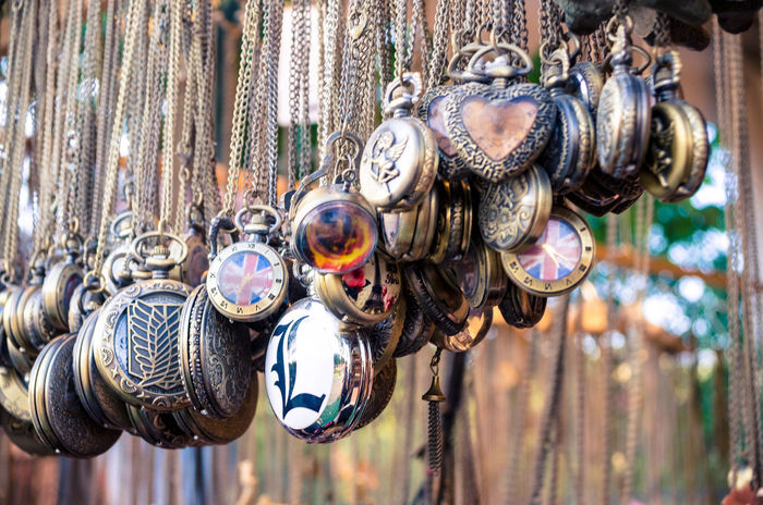 Costume jewellery displayed at a market stall. Chain Close-up Costume Jewellery Fashion Fashion Accesories Fashion Jewelry Jewellery Metallic Necklace Necklaces Pendant Pendants