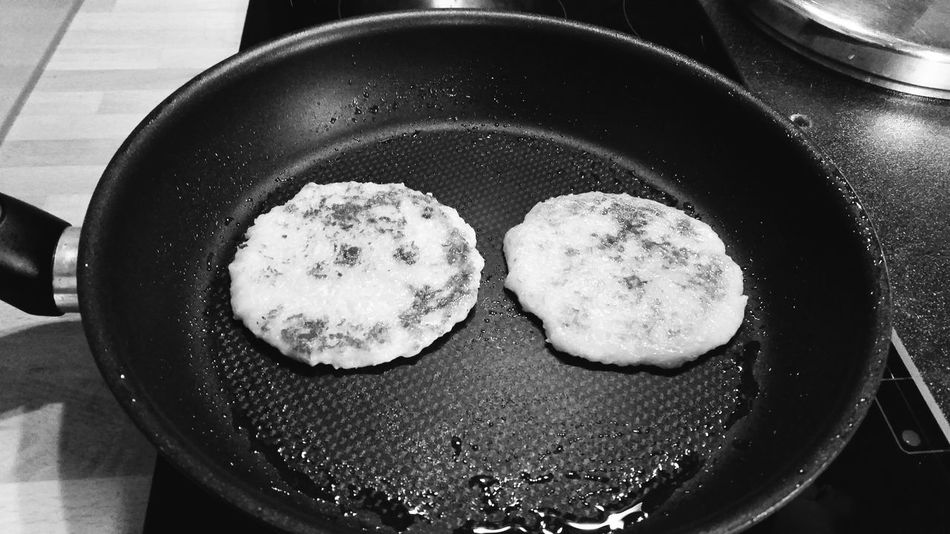 Potato Fritter Potato Pancakes Food Pan Fry Frying At Home Macro The OO Mission From My Point Of View Taking Photos Closeup Close Up No People Perspective Macro_collection Black And White Bnw Black & White Black&white Blackandwhite Two Is Better Than One