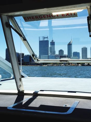 Ferry to Elizabeth Quay: Perth Western Australia Perth City Cityscapes Ferry Ferry Views Ferry Boat Boat Transperth Transportation Swan River River Water Buildings Architecture Urban City Life Fun Transport Elizabeth Quay Windows Ferry Window View City View  Australia