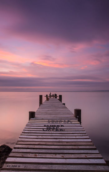 Pink Sky Tranquility Danger Deep Water Isle Of Wight  Jetty Sunset