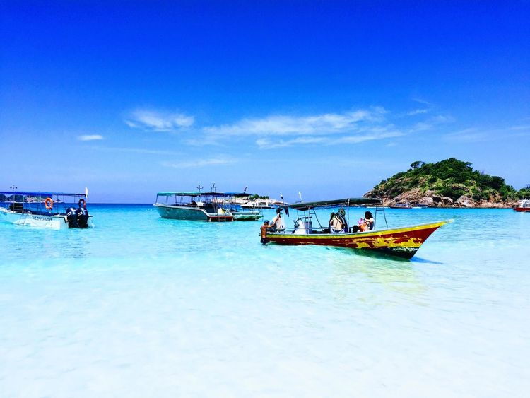 Nautical Vessel Transportation Mode Of Transport Sky Sea Water Nature Beauty In Nature Pulau Redang Malaysia Travel Travel Destinations Moored Day Scenics Outdoors Blue Cloud - Sky Men Real People Vacations Jet Boat Outrigger Longtail Boat Let's Go. Together.