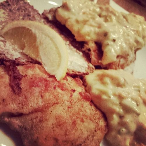 A Danish speciality.. fried fish with remulade on rye bread.. with a bit of lemon ... Homemade Realfood Mayo Remulade fish