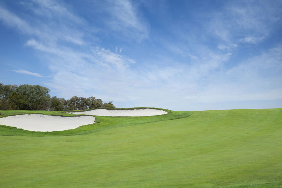 Clouds Fairway Golf Golf Ball Golf Course Grass Green Color Landscape Minnesota No People Pin Sand Trap Scenic Sky Sunlight Trees USA