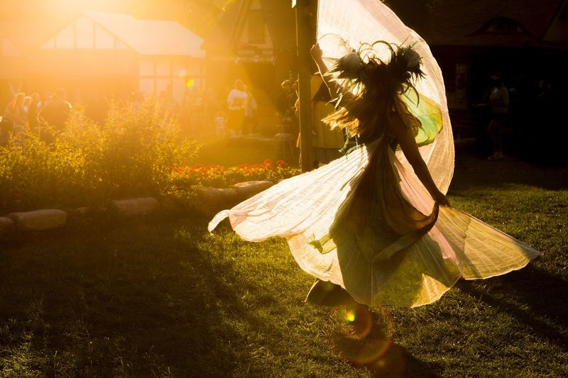 Dancing faerie at sunset, at the Pittsburgh Renaissance Festival Sunlight Outdoors Costume Fesival Fairy Renaissance Festival Sunset Motion