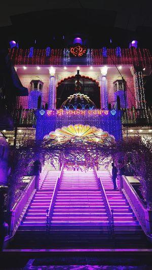 Neon Neon Lights Illuminated No People Staircase Dashmesh Darbar Sion Koliwada Gurudwara EyeEmNewHere