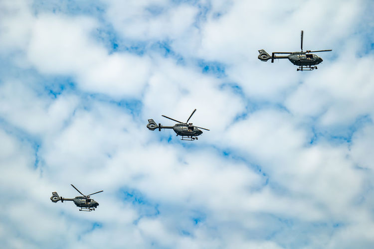Air show over the river danube on the national day of hungary