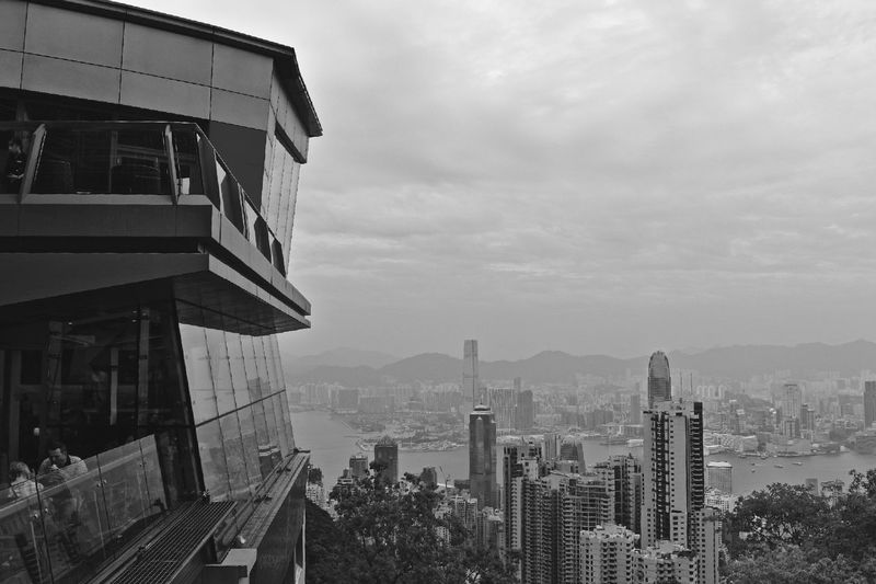 The Peak Architecture Building Exterior Skyscraper Built Structure City Cityscape Outdoors Cloud - Sky Sky No People Urban Skyline Day Apartment Nature City Life Hongkongphotography Hkphotography The Week On EyeEm Monochrome Black & White
