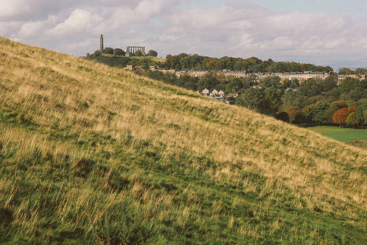 Classic city of Edinburgh Landscape Environment Sky Land Field Plant Cloud - Sky Grass Tranquil Scene Nature No People Scenics - Nature Tranquility Day Beauty In Nature Rural Scene Outdoors Growth Hill Tree Scotland Castle Classic Vintage