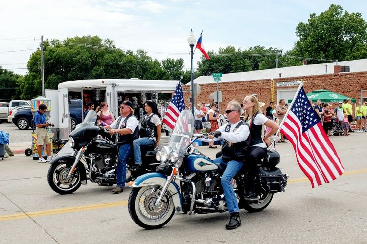 55th Annual National Czech Festival August 5, 2016 Wilber, Nebraska American Dream American Flag Americans Camera Work Check This Out Color Photography Cultures Czech Days Czech Festival Easy Riders EyeEm Best Shots Harleydavidson Life In Motion Lifestyles Eyeemphoto Main Street USA Midday Sunlight Motorcycles Nebraska Outsider In Parade Smal Town USA Small Town USA Summertime Wilber, Nebraska