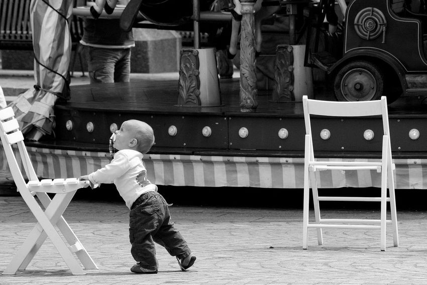 B&w Baby Casual Clothing Childhood Day Endearing First Steps Full Length Indoors  Merrygoround Nice People Real People Roundabout