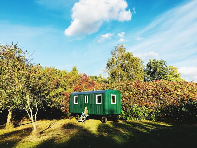 Hello autumn Tiny House On Wheels Tiny House  Sky Mode Of Transportation Cloud - Sky Transportation Tree Plant Nature Land Vehicle Outdoors Sunlight Day No People Train Growth Land Green Color