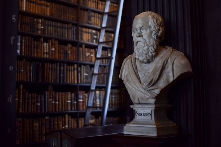 Greek Philosopher bust in Trinity College Library Ancient Greek Democracy Dublin Philosophy Sophisticated Sócrates Trinity Architecture Art And Craft Book Bookshelf Bust  Bust  Creativity Culture Education Indoors  Law Library No People Publication Sculpture Shelf Staircase Statue