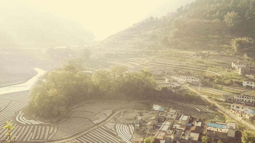坪田村 Agriculture Outdoors Field Nature Landscape Fog No People