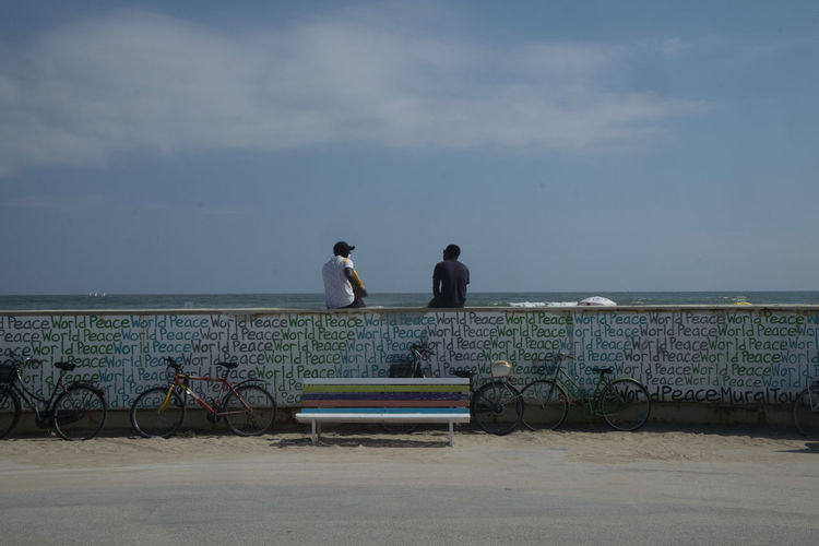 Rear view of people sitting by sea against sky