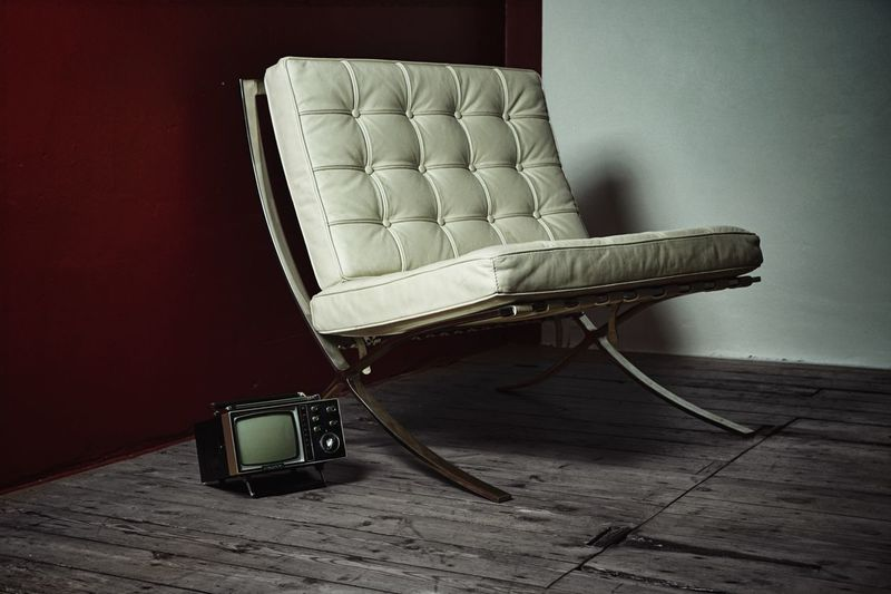 the things you own end up owning you...... Consumer Possesions Minimmalist Sony Screen Television Mies Van Der Rohe Design Classic Cliche Barcelona Chair Indoors  Still Life Furniture Home Interior Old Technology Architecture Leather