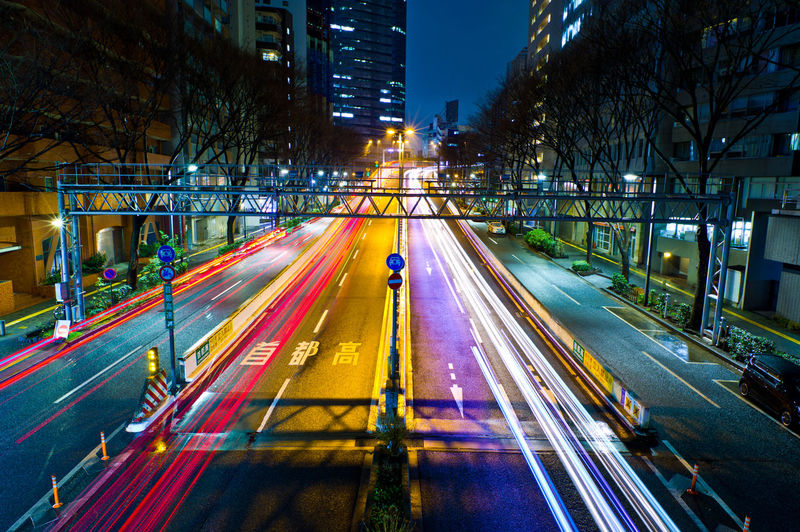 City Architecture Transportation Illuminated Long Exposure Motion Building Exterior Road Built Structure Night Street Light Trail City Life Speed Tree Blurred Motion Mode Of Transportation City Street Sign Traffic No People Cityscape Office Building Exterior Tokyo Tokyo Night Japan Shinjuku Japan Photography Highway High Angle View