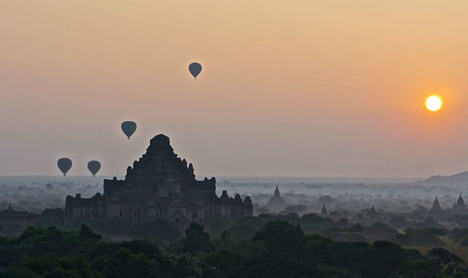 Balloons Over Pagodas In Bagan Famous Place History Myanmar Outdoors Religion Sky Tourism Travel Travel Destinations