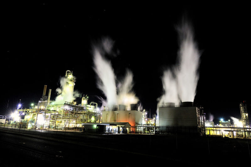 Industrial plant at night Architecture Building Exterior Built Structure Illuminated Industry Long Exposure Manufacture Night No People