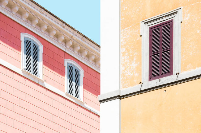 Pastel Power Urban Geometry Architecture Building Exterior Built Structure Day Low Angle View Minimal Minimalism No People Outdoors Pastel Sky Symmetry Window The Graphic City
