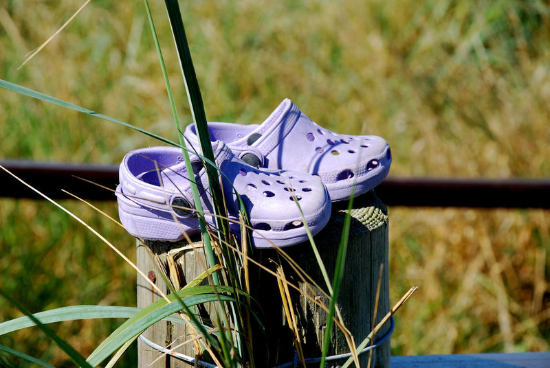 Close-up Day Field Focus On Foreground Grass Growth Kids Crocks Kids Shoes Lost Shoes Nature No People Outdoors Plant