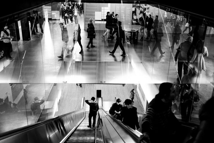 View Of People On Escalator