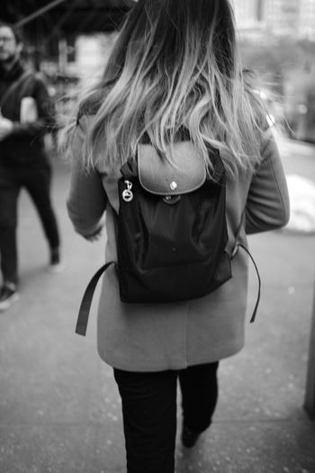 Backpack on Street Focus On Foreground Women People