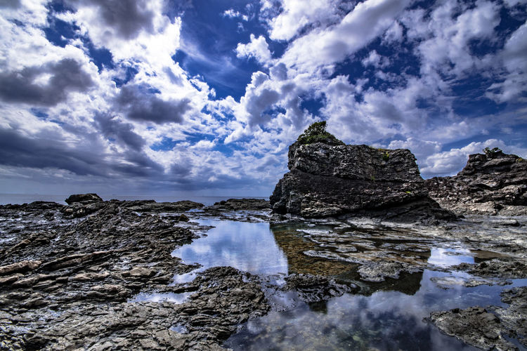 Panoramic View Of Rocks Against Sky