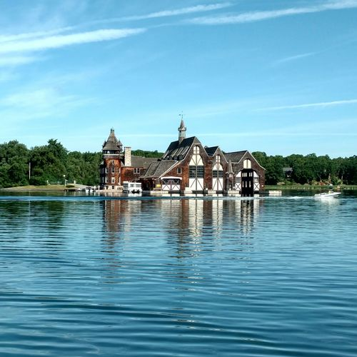 Some house at Thousand Islands in Canada Canada Thousand Island ThousandIslands Thousand Island Lake Reflection Reflections House Blue Blue Sky Clean Water Water Water Reflections Ontario Ontario, Canada Summer Eyeemphoto