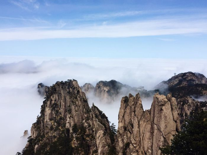 Sea of clouds at the top of Huangshan mountain in China Mountain Nature Scenics Beauty In Nature Physical Geography Cloud - Sky Non-urban Scene Sky Landscape China Huangshan Yellowmountains Seaofclouds