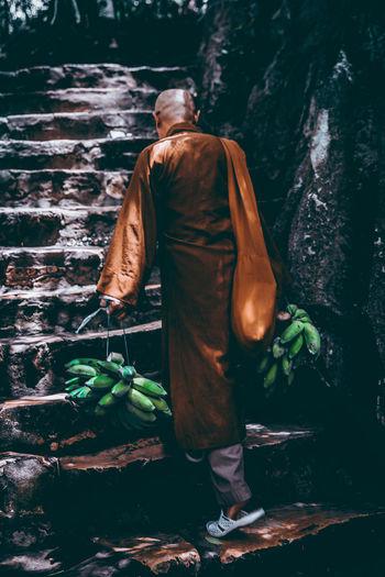 Temple Vietnam Vietnamese Monk  Water Men Occupation Working Full Length City Rear View