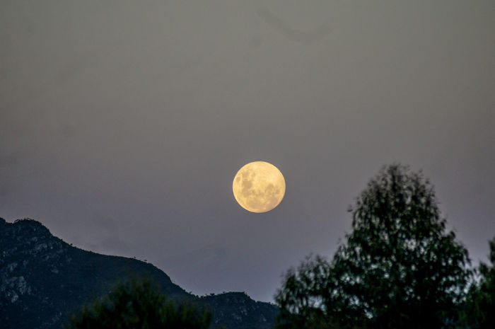 Moon Beauty In Nature Full Moon Love ♥ Moonlight Mountain Night No People Sky Tranquility