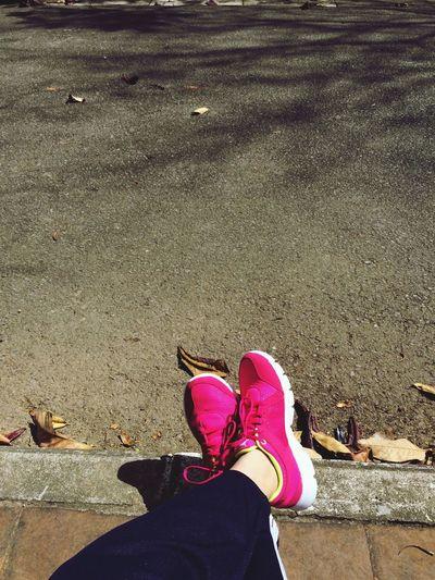 Pink nike follow the girl to school yard