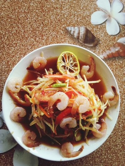 ตำส้ม..ส้มตำ Chiang Rai, Thailand Thailand EyeEm Selects Plate Table Bowl High Angle View Close-up Food And Drink Shrimp