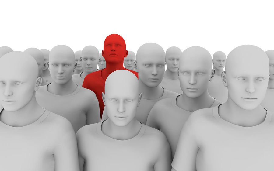 3d illustration of male figures looking forwards, with one figure rendered in red. Alarm Alertness Close-up Co-operation Danger Different Forward Forward Focus Goal Group Human Representation Marketing Medical Nee Red Color Security Alert Spy Standing Out From The Crowd Success Target Team Teamwork Thinking Togetherness Virus White Background