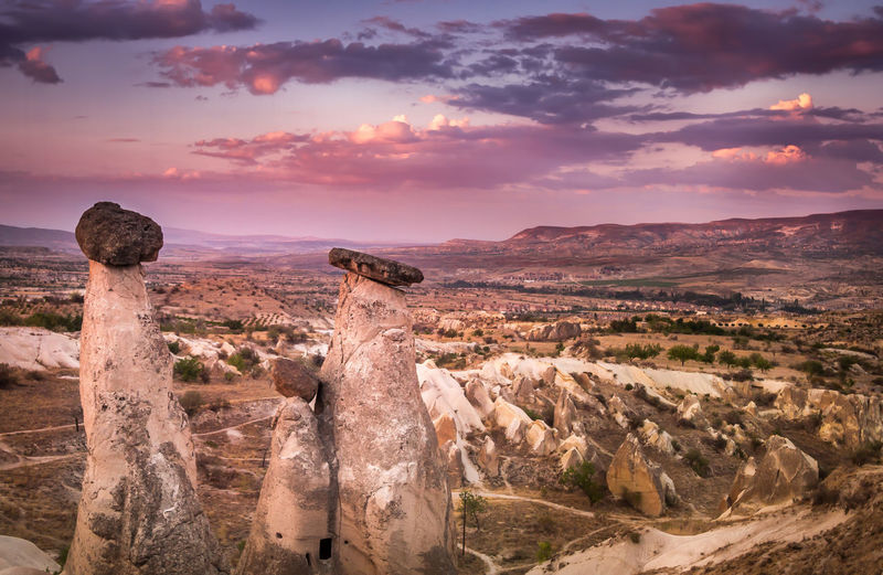 Scenic view of rock formations against sky at cappadocia