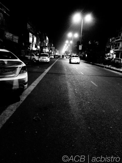 Silent night, empty road. Night Street City No People Delhi Justlikethat IPhoneography Road India Outdoor Acbistro Acb
