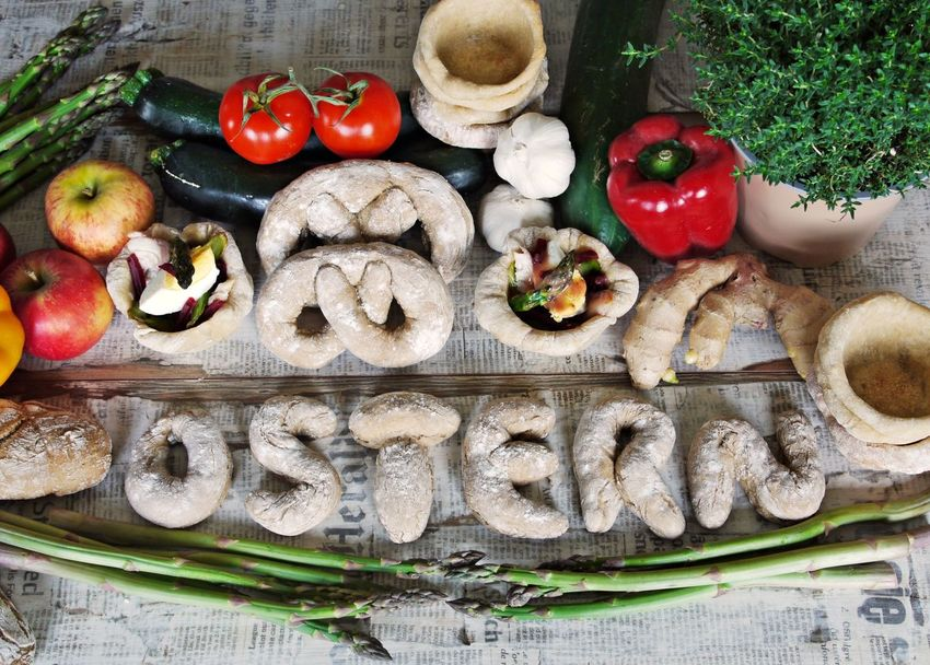 Asparagus Bread Cucumber Day Easter Food Food And Drink Freshness Handmade By Me Healthy Eating Herbs Large Group Of Objects No People Outdoors Paprica Red Tomato Variation Vegetable Wood - Material