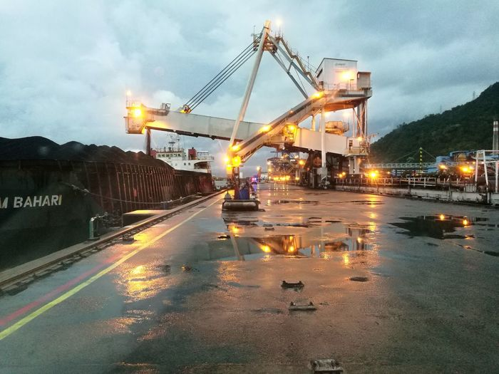 Crane - Construction Machinery Water City Illuminated Night Transportation Outdoors