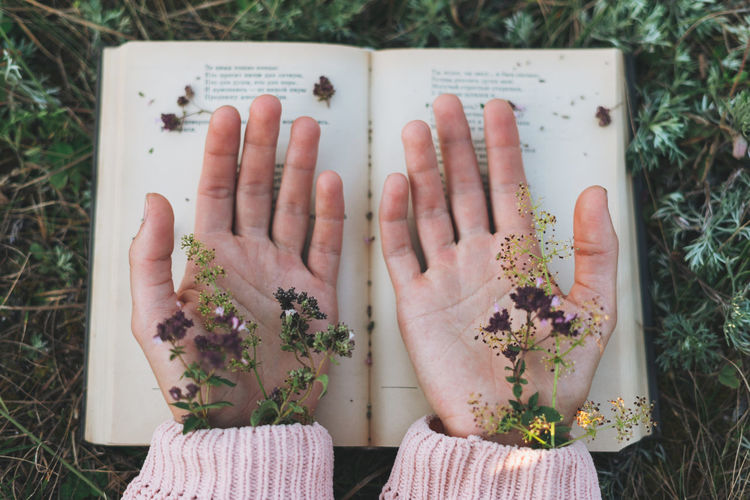 Directly above shot of woman hand with flower and book outdoors