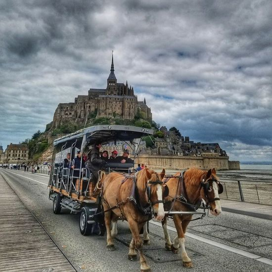 Horse Cloud - Sky Transportation Mode Of Transport Sky Horse Cart Horsedrawn Architecture Animal Themes Domestic Animals Outdoors Built Structure Mammal People Adult Day France First Eyeem Photo