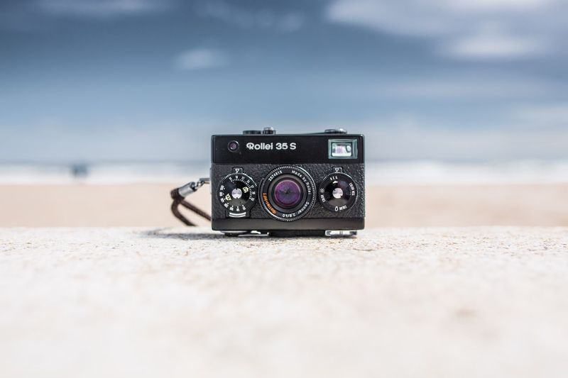 My absolute favorite point and shoot camera 😊 Analogue Cameras Shooting Photos Analogue Photography Rollei Camera - Photographic Equipment Photography Themes Retro Styled Beach Old-fashioned Sand Sky Technology Day Photographing Close-up